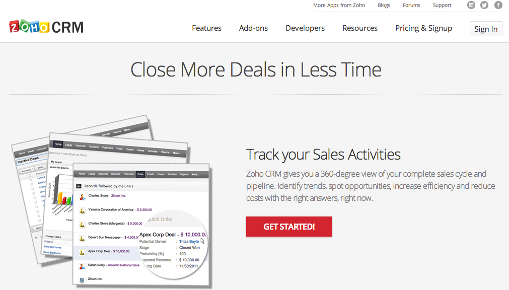 Marketing automation is internal to Zoho CRM, enabling more highly targeted email marketing.
