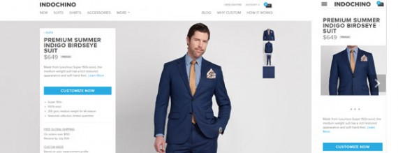 The Indochino site, which sells custom men's clothing, features images regardless of screen size.