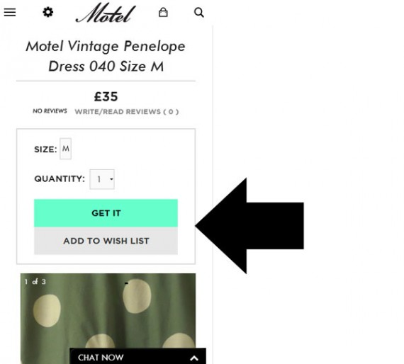 """On a smartphone's relatively smaller screen, Motel's call to action (""""Get It"""") is moved to the top of the page."""