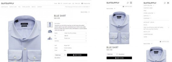 Suitsupply shows only the required navigation on the smartphone version, at right, but still provides easy access to everything from the larger version, on left.