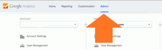 Navigate to the Admin page in Google Analytics.