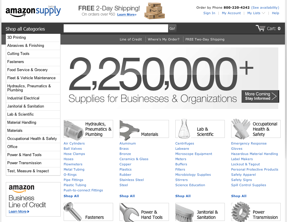 AmazonSupply home page.