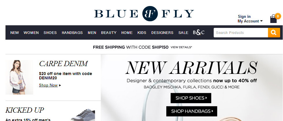 Bluefly places the logo in the upper middle of its website.