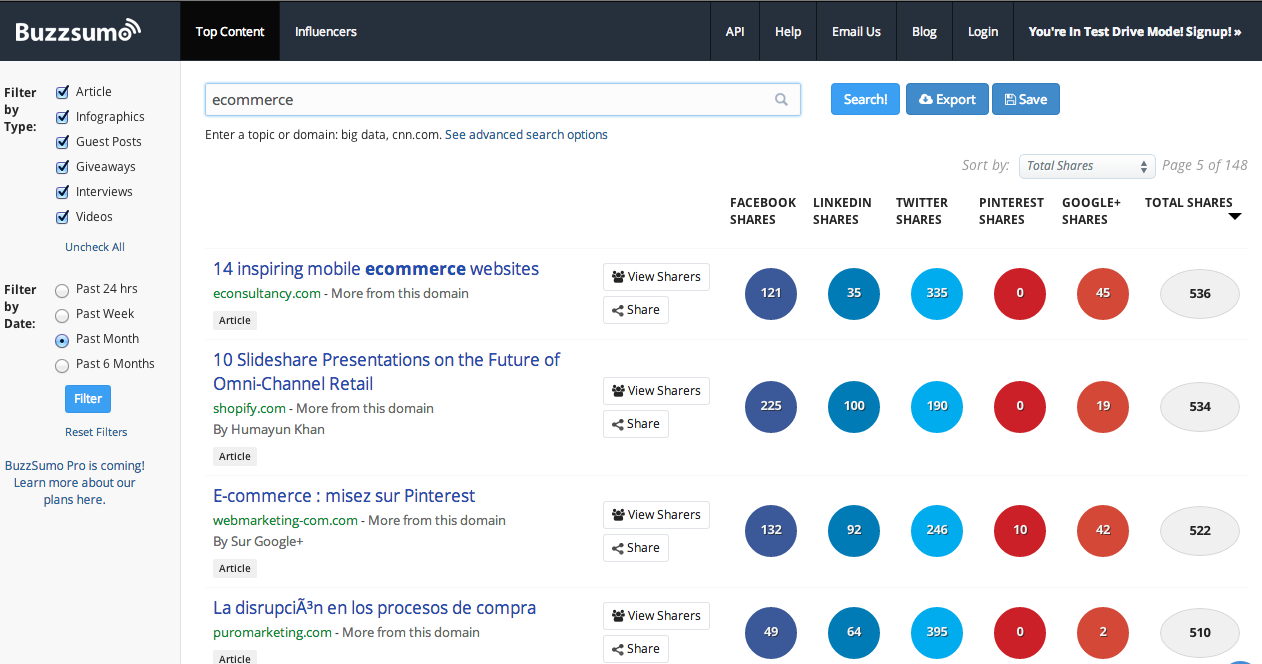 Buzzsumo provides data on content that is popular on social media sites.