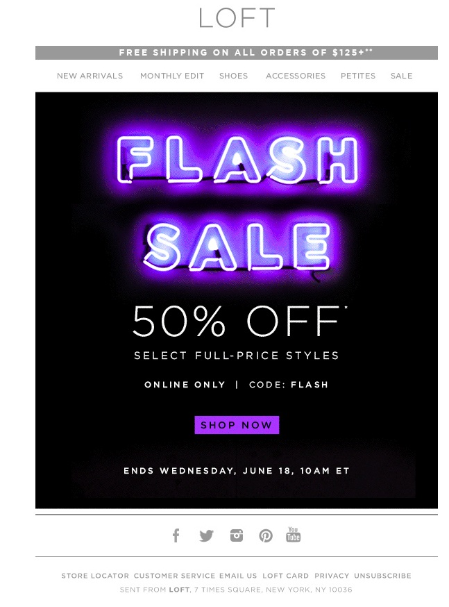 An email from LOFT for a one-day flash sale features animated colors. (Click on image for actual animation.)