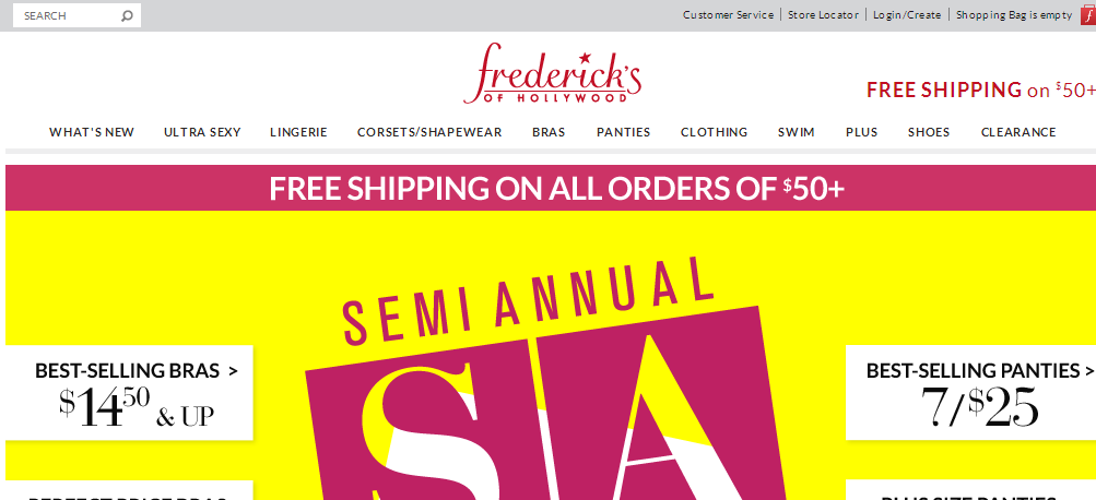Fredericks' logo appears in the upper middle of its site.