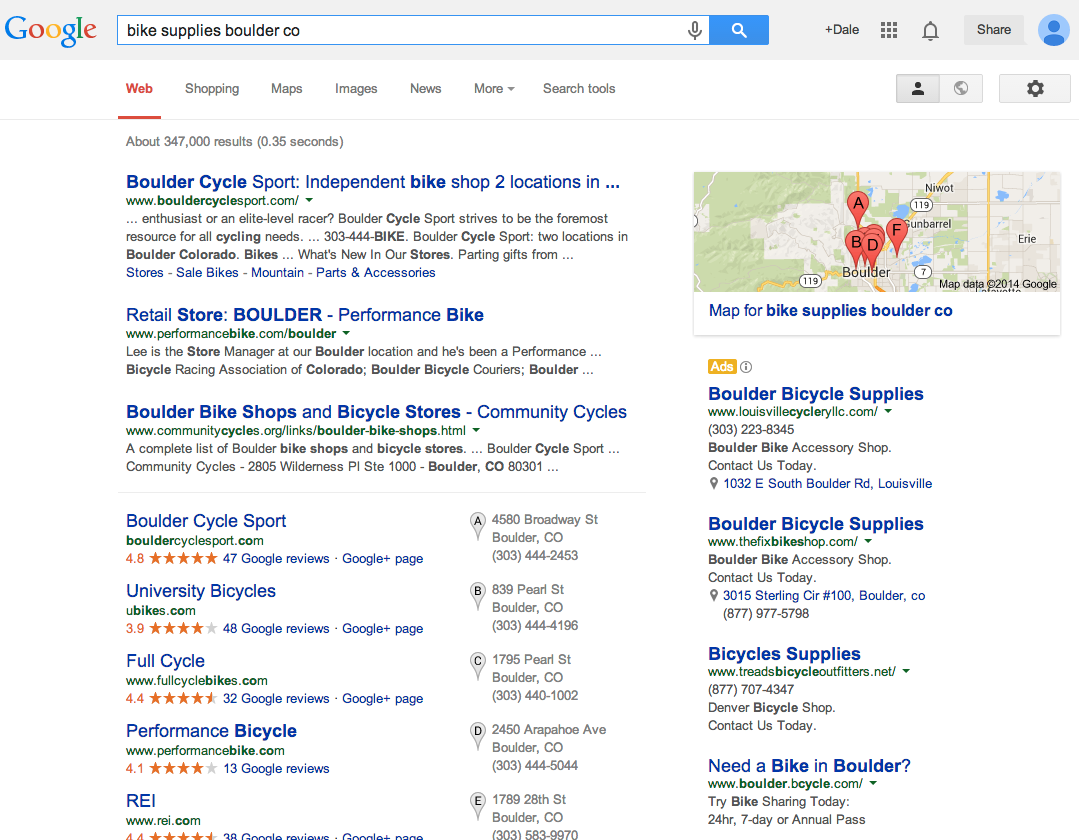 "Google search results for ""bike supplies boulder co""."