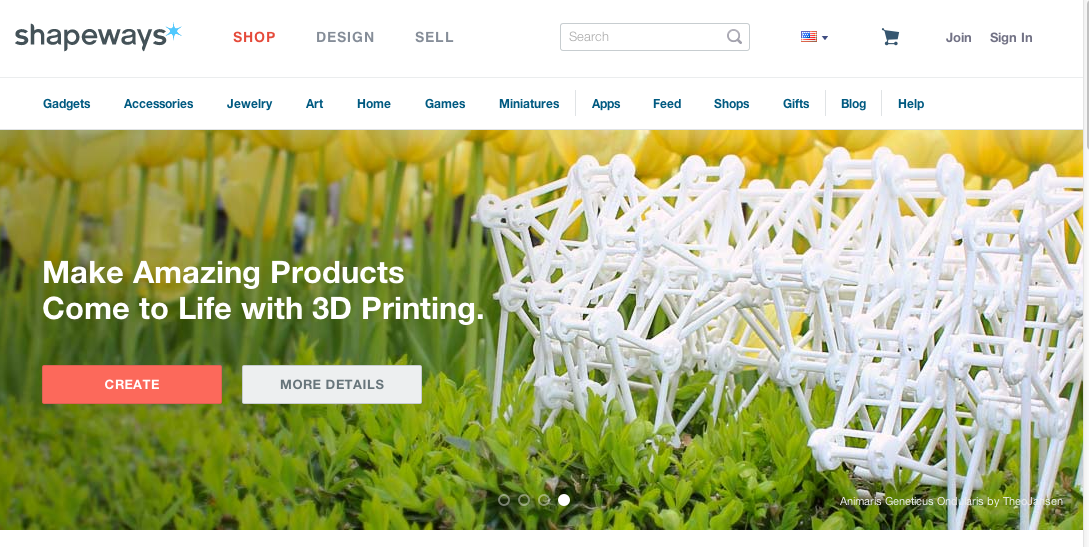 Shapeways is a marketplace for 3D printed products.