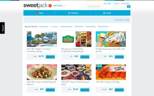 SweetJack website