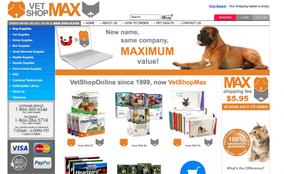 VetShopMax.com, the American website.