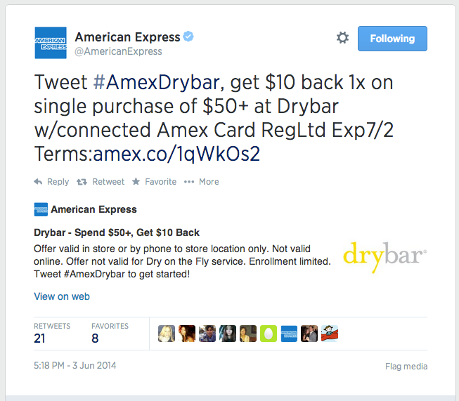 American Express allows purchases using hashtags in its Twitter feed.