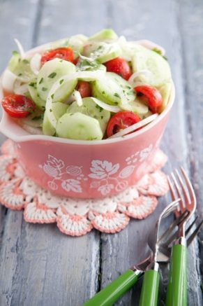 "The perfect Pinterest photo, according to Curalate, is ""Aunt Peggy's Cucumber, Tomato, and Onion Salad."""