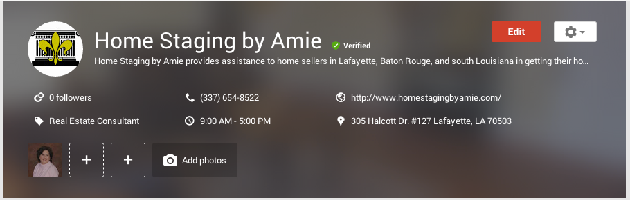 Here is what the Google My Business dashboard looks like using my wife's home staging business as an example.