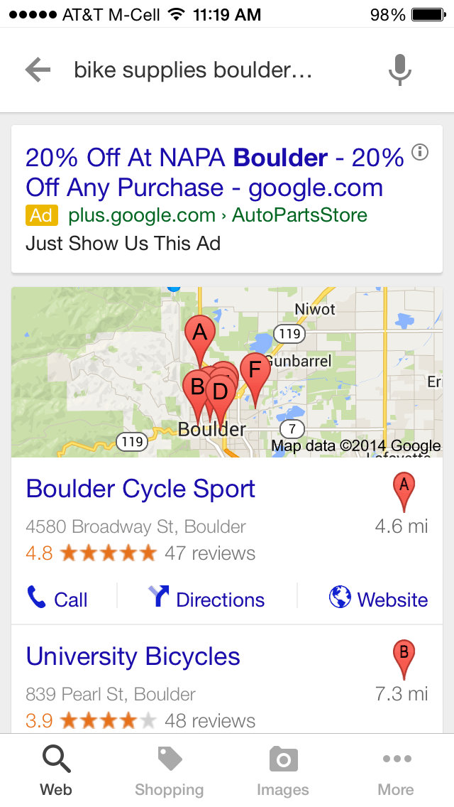 "Google search results for ""bike supplies boulder co"" from a smartphone."