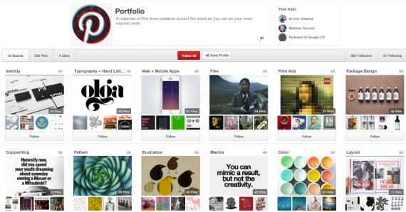Pinterest started a portfolio of boards and pins to inspire creativity among users.