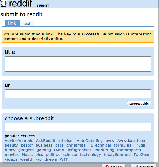 Submitting a Reddit link.