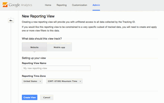 Google Analytics allows website and mobile app views, which have slightly different reports.