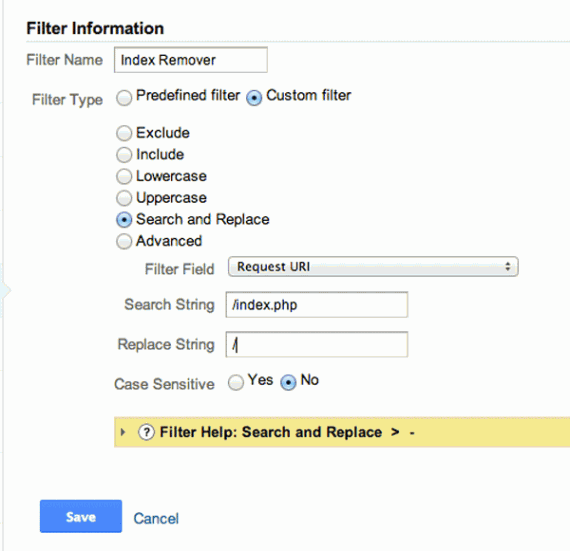 "This filter would replace ""/index.php"" with just a slash, effectively combining data for two URLs."
