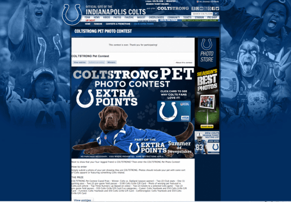 Example of Offerpop photo contest from an Indianapolis Colts campaign.