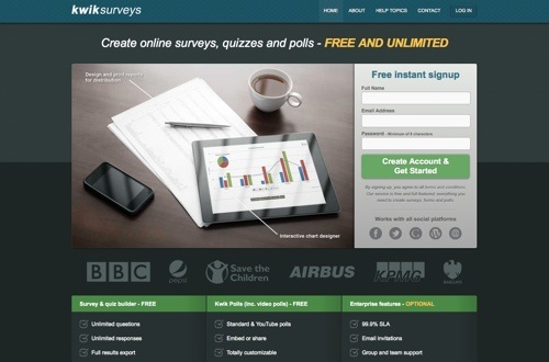 KwikSurveys website