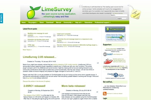 LimeSurvey website