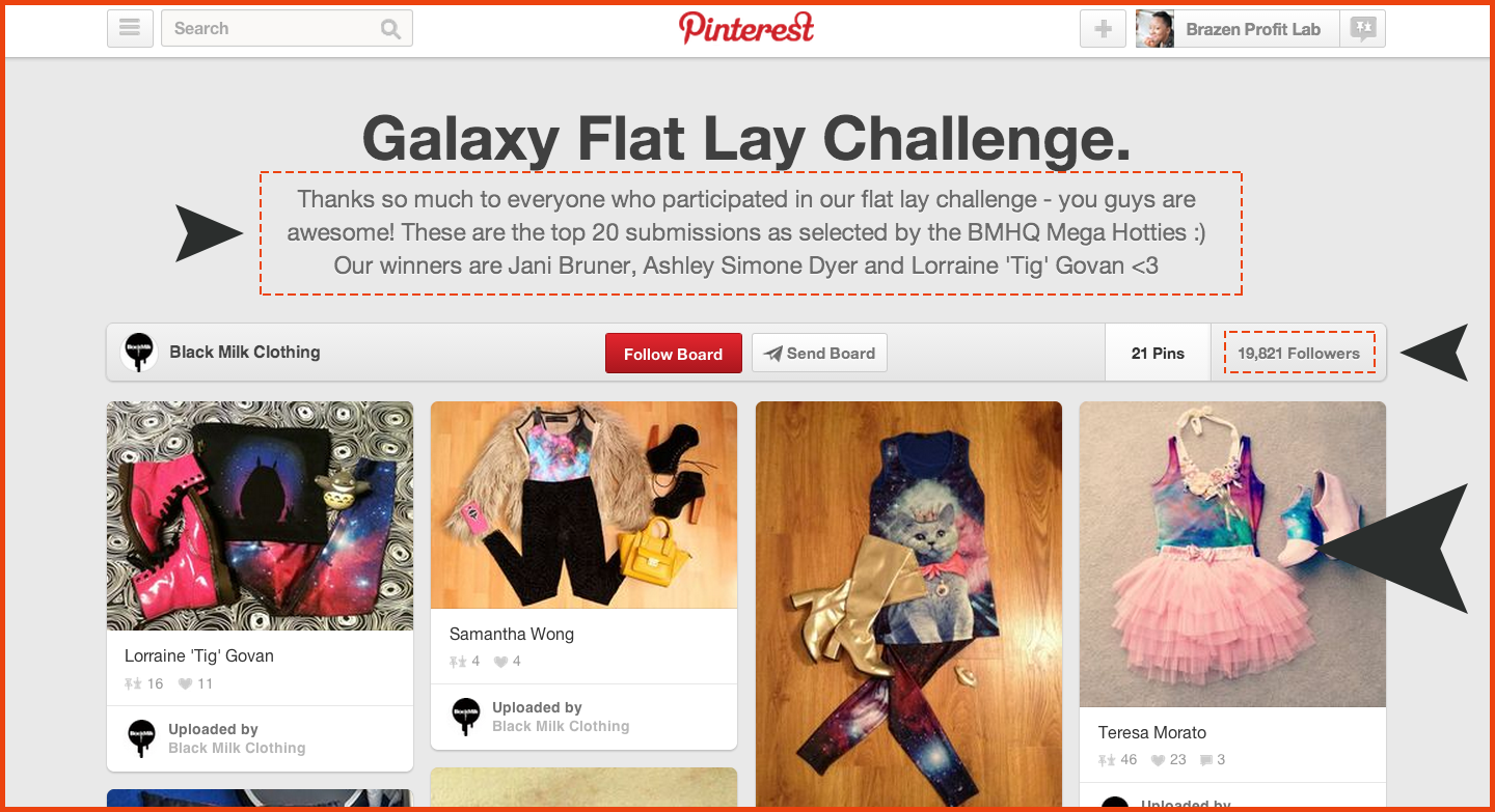 Black Milk creates Pinterest boards to acknowledge winners of contests and challenges.