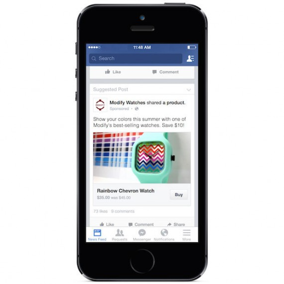 "Facebook tests ""Buy"" button (beneath the photo, above, on the right) with select smaller businesses."