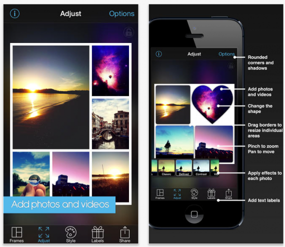 PicFrame makes it easy to create photo collages.
