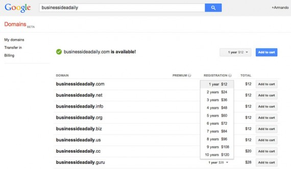 Google Domains charges a flat annual fee, regardless of how many years for which one registers a domain name.
