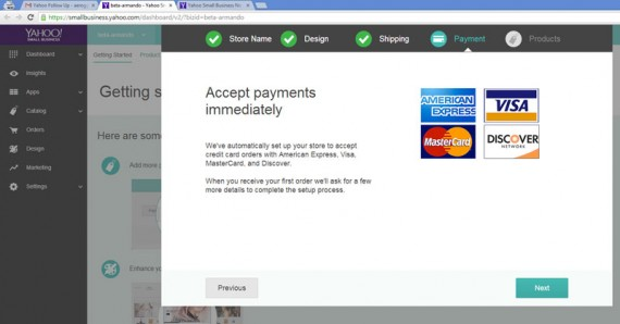 Business on the new Yahoo Stores platform can accept payments instantly, even before setting up a merchant account.