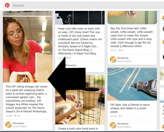 Home Depot has many examples of using pins to promote long form how-to content on its own site.