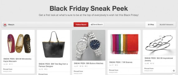 Macy's used a Pinterest pin board to preview Black Friday Doorbuster sale items.