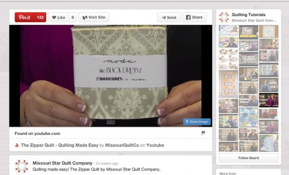 The Missouri Star Quilt Co. pins how-to video content on its Quilting Tutorials pinboard.