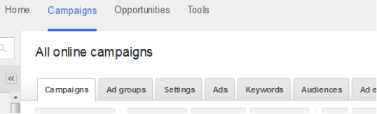 """Campaign"" tabs in AdWords."