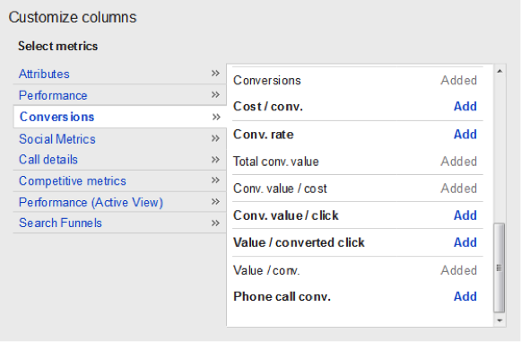 "Navigating to Columns > Customize Columns > Conversions > Choose ""Total conv. value."""
