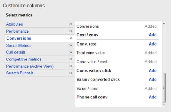 "Navigating to Columns > Customize Columns > Conversions > Choose ""Total conv. value."""