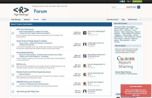 High Rankings forum.