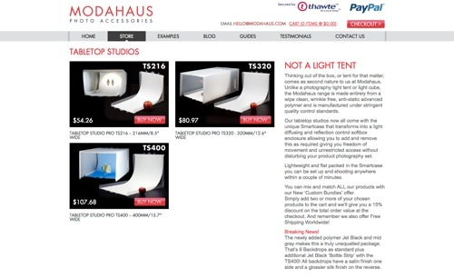 Modahaus Tabletop Studio website