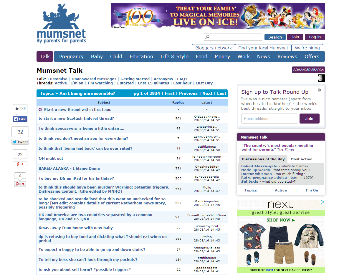 Mumsnet is a popular forum for parenting-related discussions.