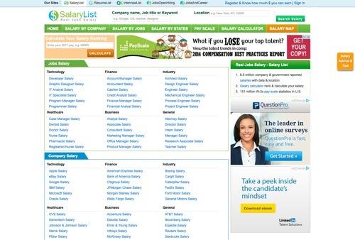 SalaryList.com website