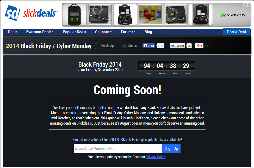 "SlickDeals, an affiliate site, already has a ""Coming Soon"" page for Black Friday."