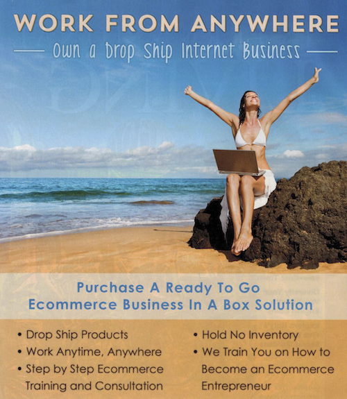 Many advertisements, such as this one from a magazine, claim falsely that drop shipping is simple and leads to easy riches.