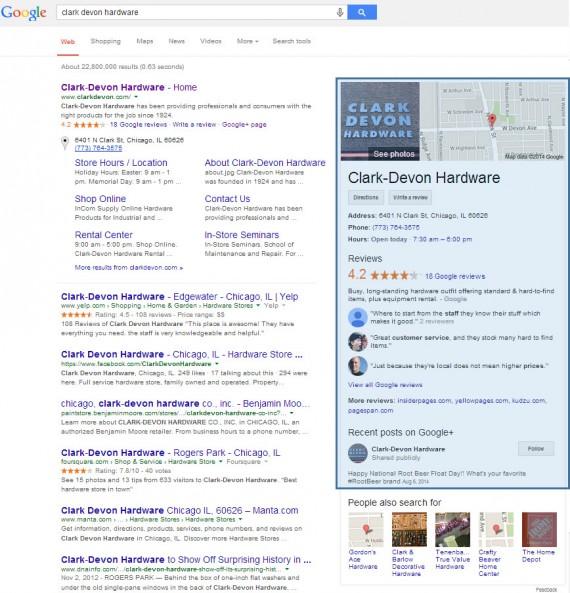 Local search example for Clark Devon Hardware.