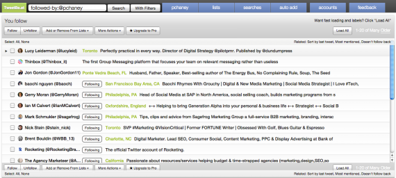 TweetBe has filters to make it easy to find relevant users.