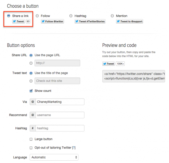 The Twitter button configuration includes options to customize the button.