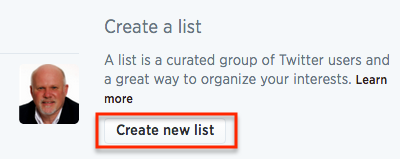 "Click the ""Create new list"" button to set up a list."