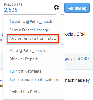 Add or remove people from your lists.