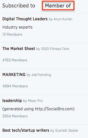 Member of Twitter lists
