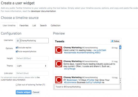 Twitter embedded timeline configuration dialog.