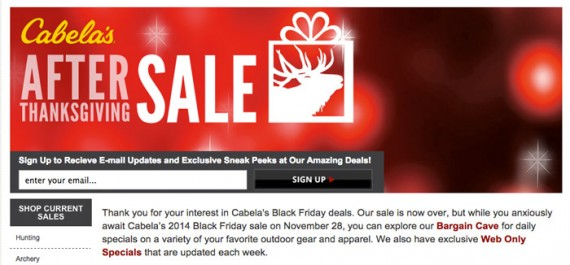 The Cabela's Black Friday landing page has an email subscription form built into the main graphic.